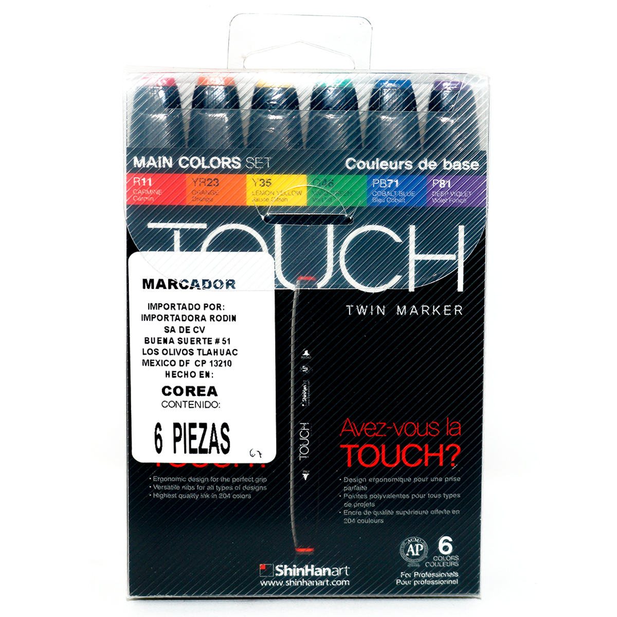MARCADOR TOUCH TWIN COLORES PQ/6